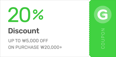 UP TO ₩5,000 OFF ON PURCHASE ₩15,000+